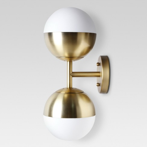 Glass Globe Double Sconce Wall Light Brass - Project 62™ - image 1 of 1