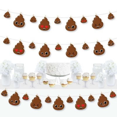 Big Dot of Happiness Party 'Til You're Pooped  - Poop Emoji Party DIY Decorations - Clothespin Garland Banner - 44 Pieces