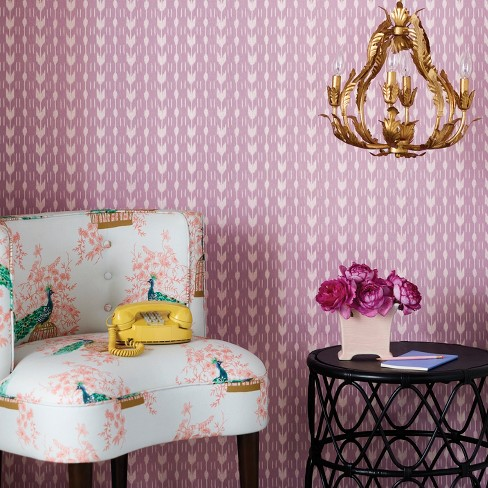 Cheur Stripe L Stick Removable Wallpaper Gardenia Pink Opalhouse