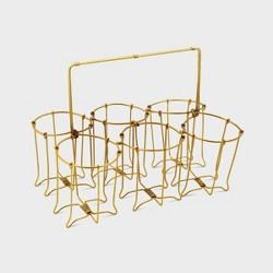 """6"""" Glass/Metal Caddy Brass - Foreside Home & Garden"""