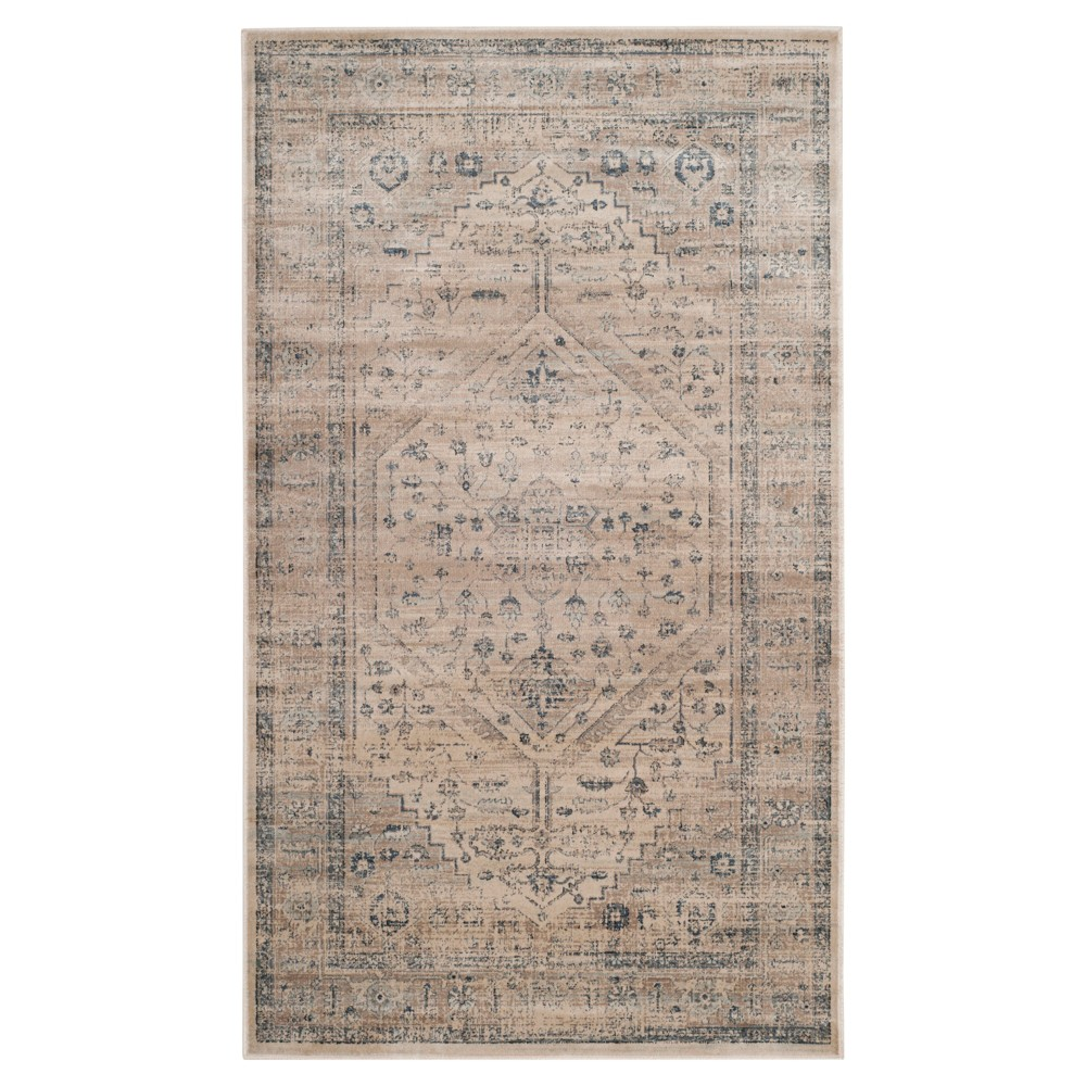 Stone/Blue Solid Loomed Accent Rug - (4'X5'7) - Safavieh, Grey/Blue