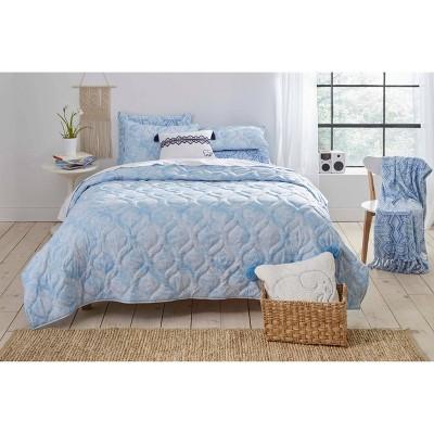 Ivory Ella Full/Queen Dana Pastel Quilt & Sham Set Blue