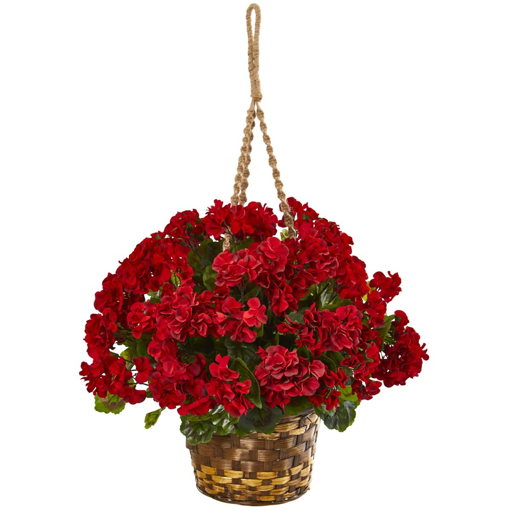 Image of 1.5ft Geranium Hanging Basket Artificial Plant - Nearly Natural, Red