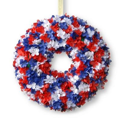 """14"""" Patriotic Hydrangea Wreath - National Tree Company"""