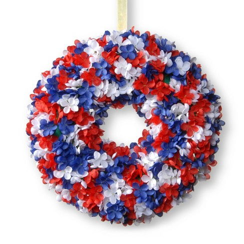 "14"" Patriotic Hydrangea Wreath - National Tree Company - image 1 of 4"