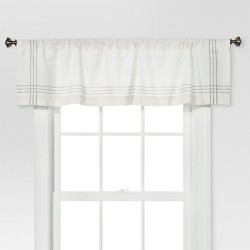 "15""x54"" Stiped Border Window Valance Cream/Gray - Threshold™"
