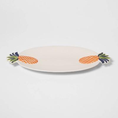 "21"" x 10"" Melamine and Bamboo Pineapple Serving Platter - Opalhouse™"