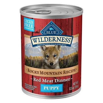 Blue Buffalo Wilderness Grain Free Wet Dog Food Rocky Mountain Recipe Red Meat Dinner Puppy - 12.5oz/12ct Pack