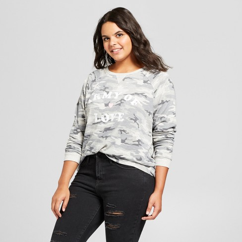 Women's Plus Size Army Of Lovers Graphic Sweatshirt - Grayson Threads (Juniors') - Gray - image 1 of 2