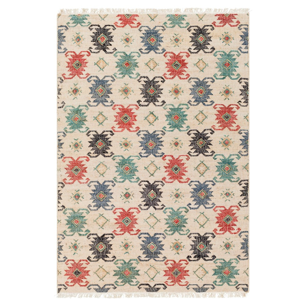 Cream/Teal (Ivory/Blue) Abstract Woven Area Rug-(5'X7'6)- Surya