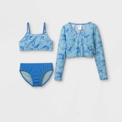 Girls' Floral Rainbow Print 3pc Long Sleeve Rash Guard Swimsuit Set - art class™ Blue