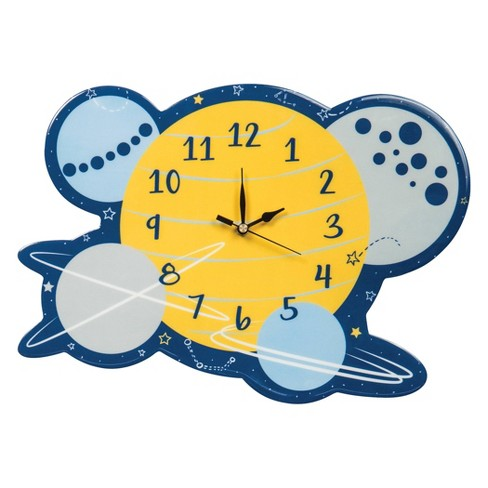 Trend Lab Solar System Wall Clocks - Yellow/Blue - image 1 of 2