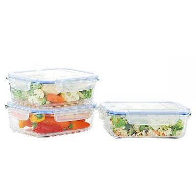 Kinetic GoGreen Glasslock Elements 6-Piece Rectangular Oven Safe Glass Food Storage Container Set with Vented Lid, 36 oz