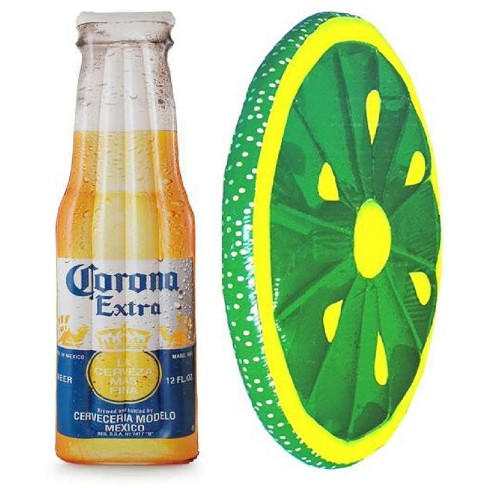 "Corona Beer Bottle 68.5"" X 22"" Inflatable Pool Float Mat + Lime Slice Float - image 1 of 6"