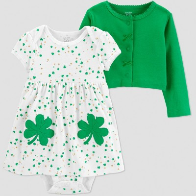 Baby Girls' St. Patricks Day Shamrock 2pc Dress Set - Just One You® made by carter's Ivory/Green 9M