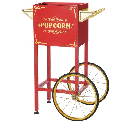 Popcorn Machine Cart- Red Vintage Replacement Cart for 4-8 Ounce Poppers- 2 Shelves, Push Handle and Bicycle Style Wheels by Great Northern Popcorn