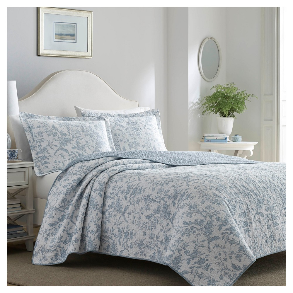 Image of Blue Amberley Quilt Set (King) - Laura Ashley