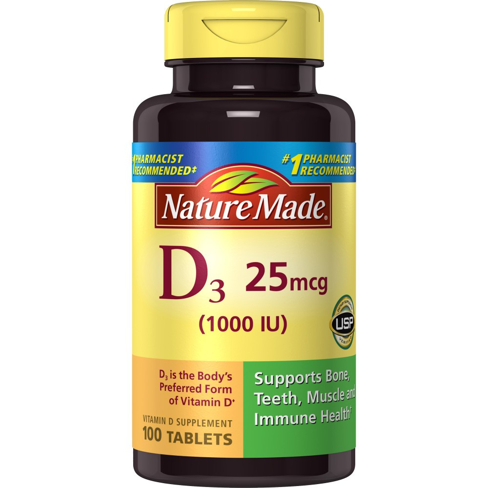 Nature Made Vitamin D3 Dietary Supplement Tablets - 100ct
