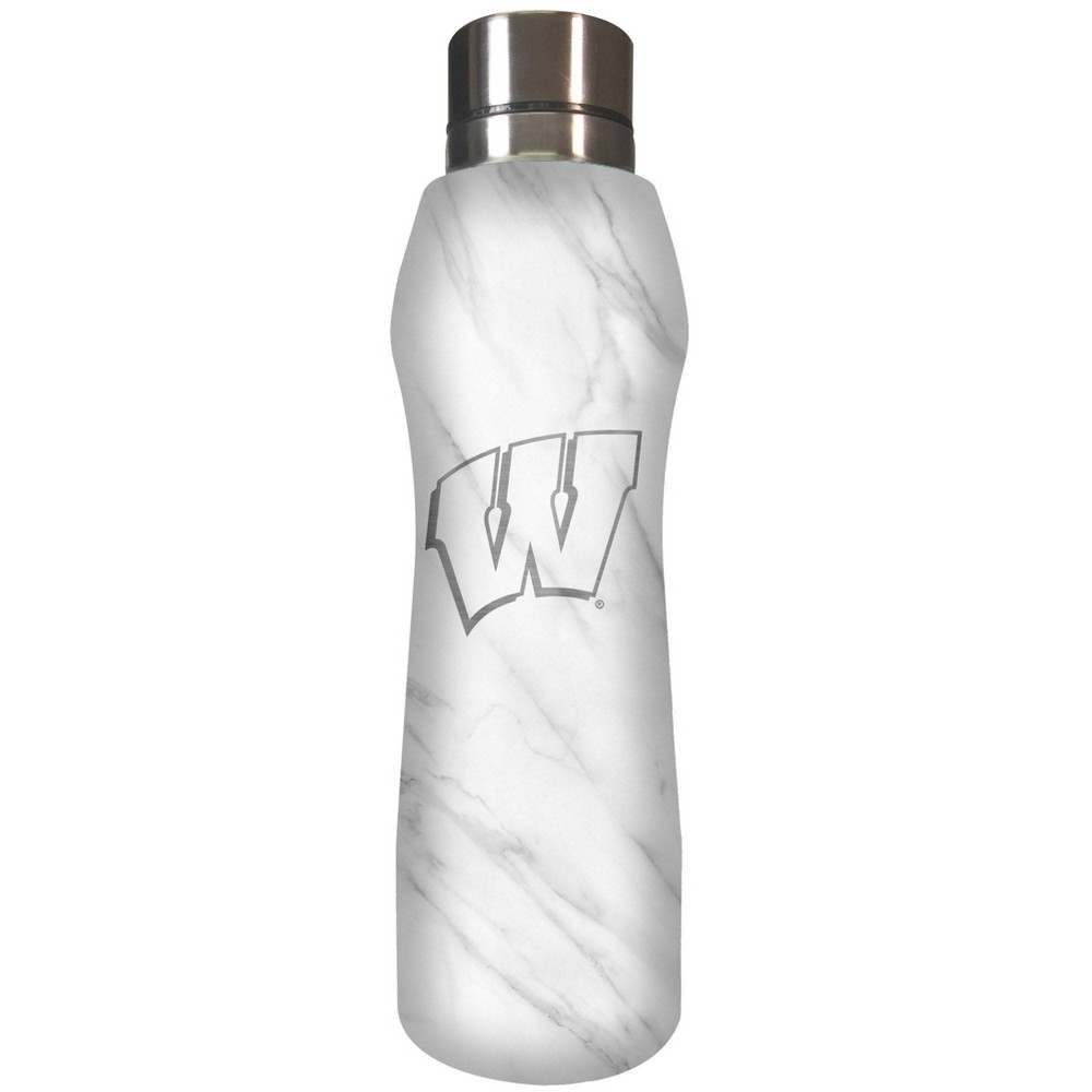 Ncaa Wisconsin Badgers 20oz Marble Curve Stainless Steel Water Bottle