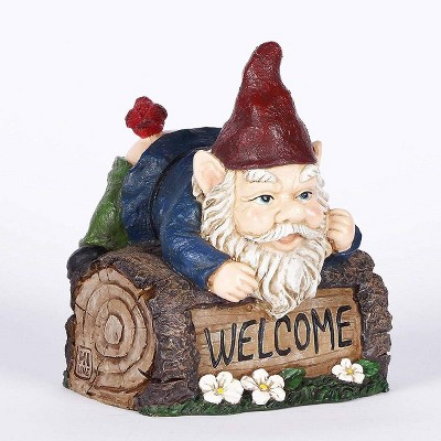"""7.5"""" Polyresin Welcome Sign Gnome Statue Crawling Over Tree Trunk - Hi-Line Gift"""