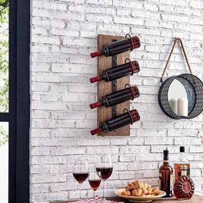 "8"" x 5.5"" x 24"" Cooper Rustic Farmhouse Wine Rack Rustic Metallic Gray - FirsTime & Co."