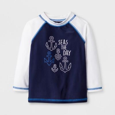 Baby Boys' Anchor Long Sleeve Rash Guard - Cat & Jack™ Blue 3-6M