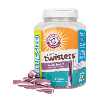 Arm & Hammer Fruit Twisters Blueberry Dental Dog Treats - 57ct