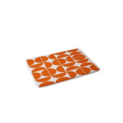 The Old Art Studio Mid Century Modern Memory Foam Bath Mat Orange - Deny Designs