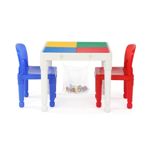 3pc Kids 2-in-1 Plastic Building Blocks Compatible Activity Square Table  and Chair Set - Tot Tutors