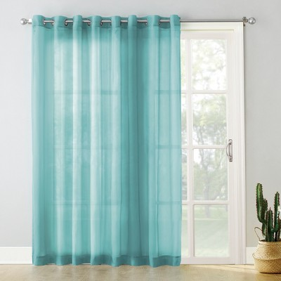 Emily Extra-Wide Sheer Voile Sliding Door Patio Curtain Panel Aegean 100 x84  - No. 918
