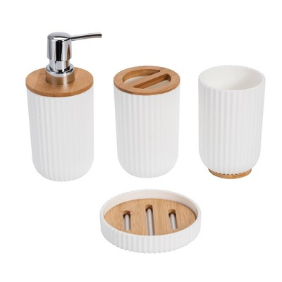 4pc Bathroom Set with Bamboo Lines White - KRALIX
