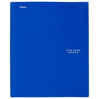 Five Star 2 Pocket Paper Folder with Prongs Blue