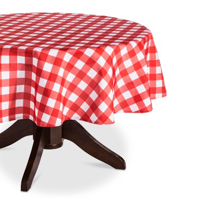 Red Plaid Round Wipeable Fabric Tablecloth