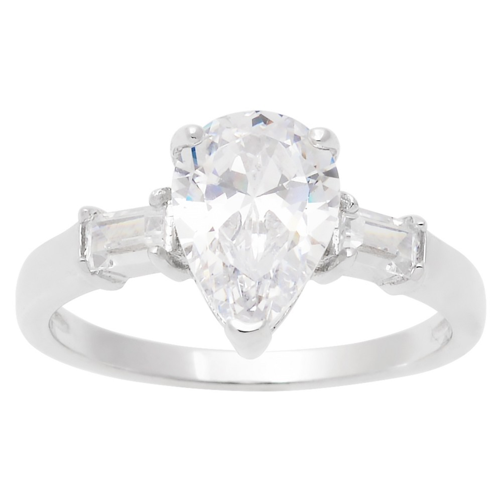 1 7/8 CT. T.W. Pear-Cut Cubic Zirconia Basket Set Engagement Ring in Sterling Silver - Silver (9)