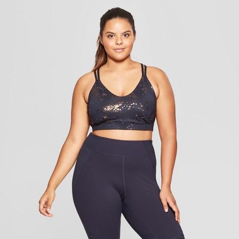 61b8a69d89 Women s Plus Metallic Print Sports Bra - JoyLab™   Target