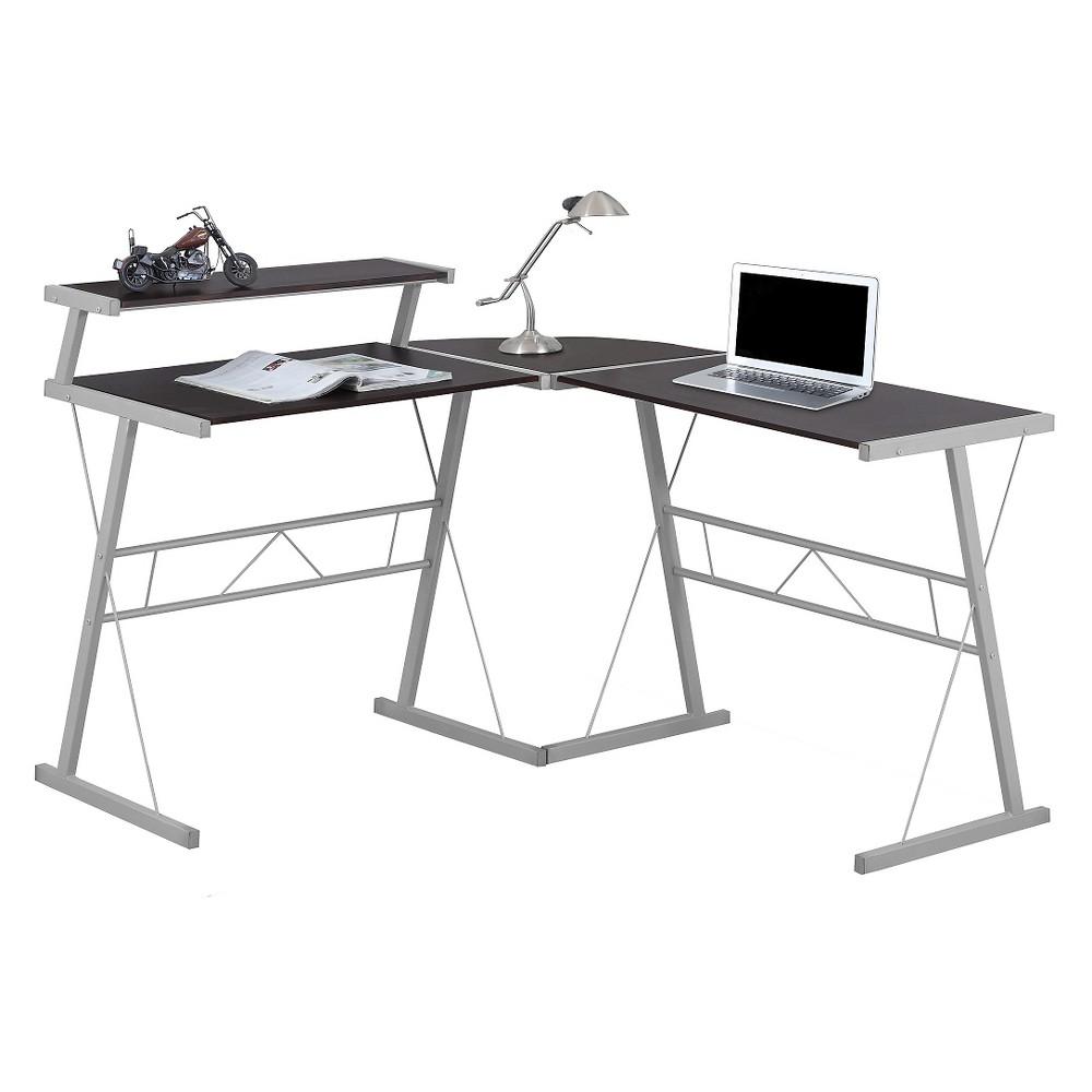 Contemporary Minimalist Cappuccino Top Computer Desk - Silver Metal - EveryRoom, Dark Cappuccino