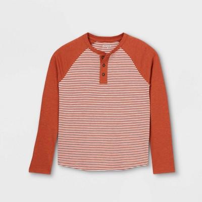 Boys' Striped Double Knit Henley Long Sleeve T-Shirt - Cat & Jack™
