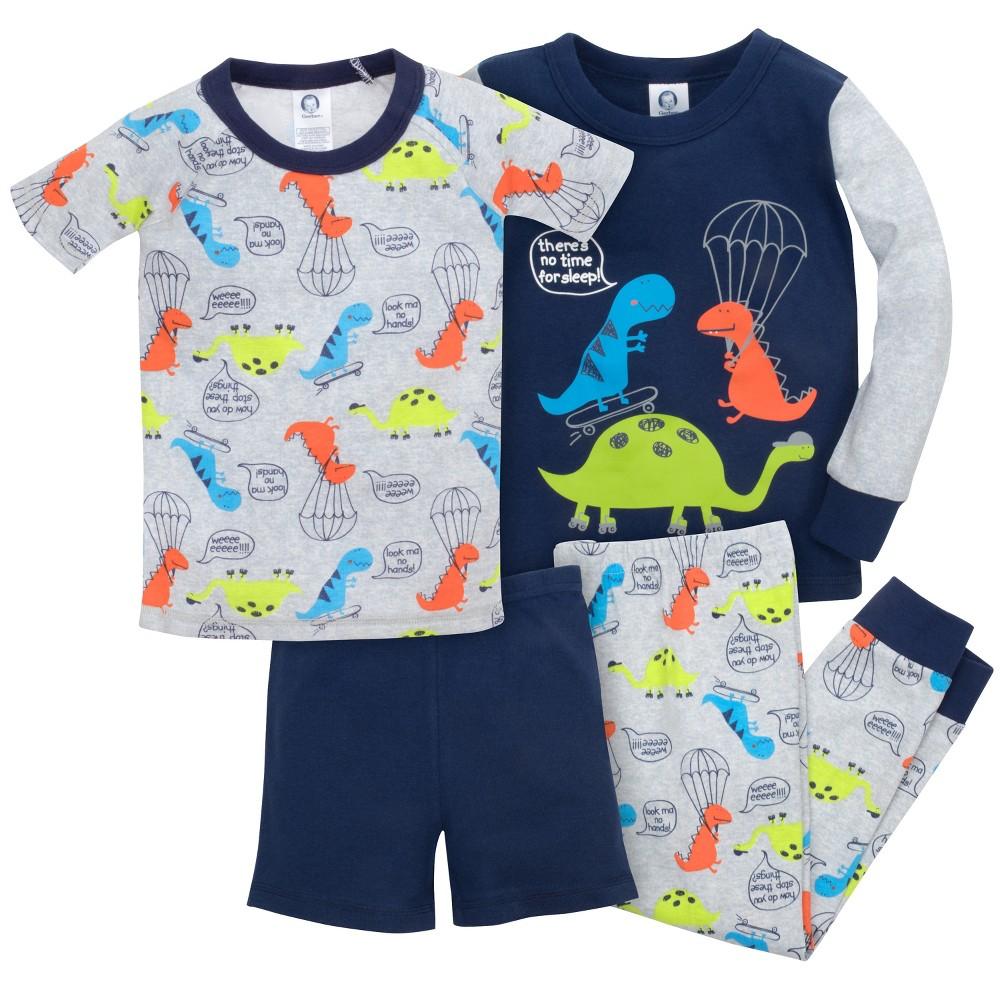 Gerber Toddler Boys' 4pc Dino Pajama Set - Gray/Navy 5T, Blue