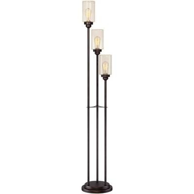 Franklin Iron Works Vintage Floor Lamp 3-Light Oiled Bronze Amber Seedy Glass Dimmable LED Edison Bulb for Living Room Bedroom