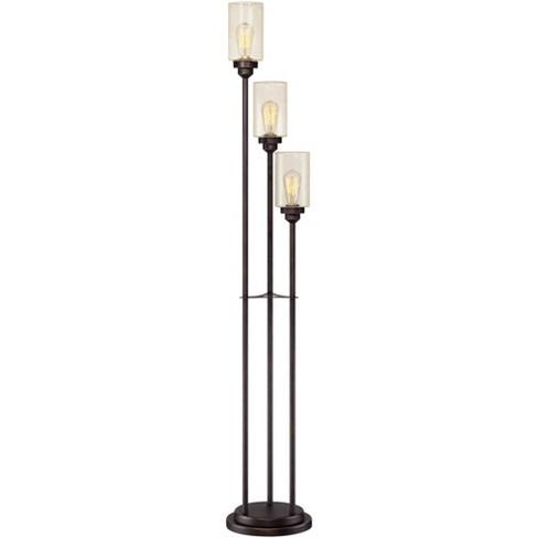 Franklin Iron Works Vintage Floor Lamp 3-Light Oiled Bronze Amber Seedy Glass Dimmable LED Edison Bulb for Living Room Bedroom - image 1 of 4