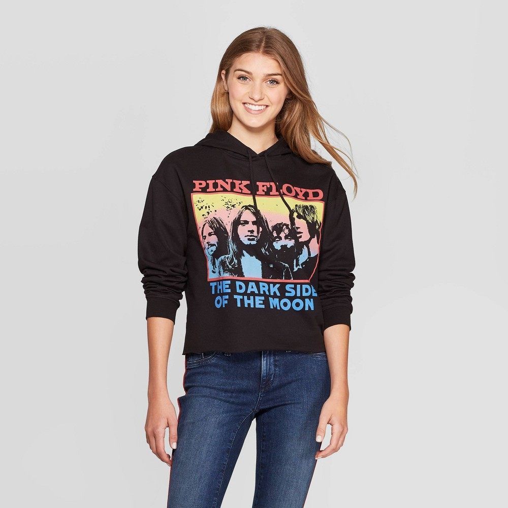 Image of Women's Pink Floyd Fleece Long Sleeve Graphic Hoodie (Juniors') - Black L, Women's, Size: Large