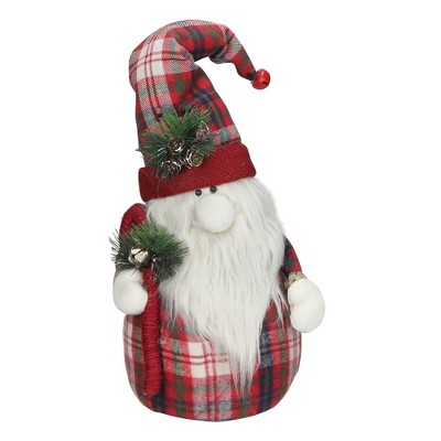 """Northlight 19"""" Red Plaid Santa Gnome with Candy Cane Christmas Figure"""