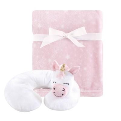 Hudson Baby Unisex Baby Neck Pillow and Plush Blanket Set - Pink Unicorn One Size