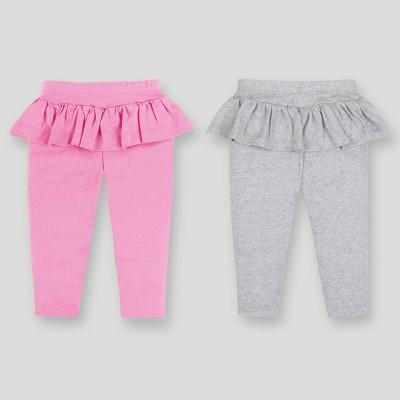 Lamaze Baby Girls' Organic Cotton 2pk Peplum Pull-On Pants - Pink/Gray 0-3M