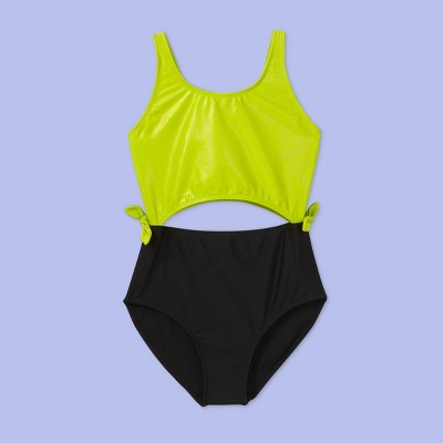 Girls' Cut-Out One Piece Swimsuit - More Than Magic™ Lime