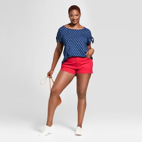 71550106b00 Women s Plus Size Shortie Shorts - Universal Thread™ Red 18W   Target
