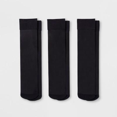 Women's 3pk Sheer Trouser Socks - A New Day™ Black 4-10