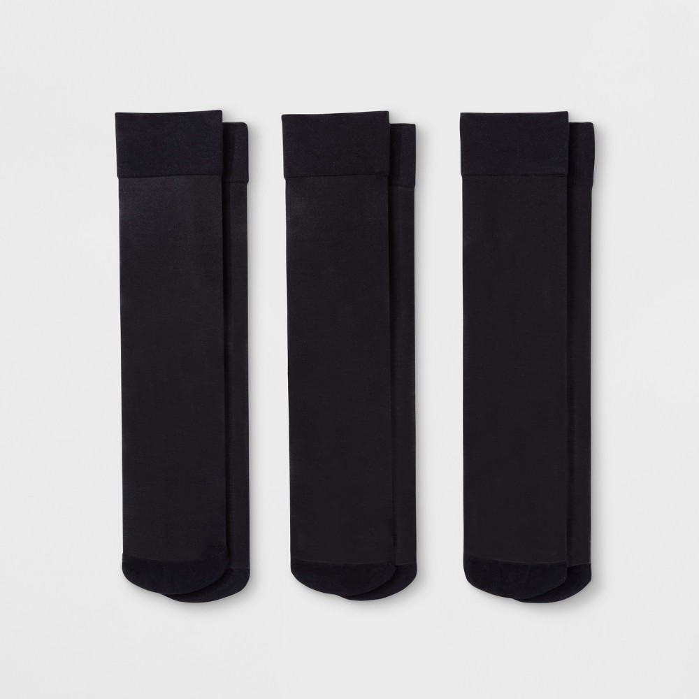 Women's 3pk Sheer Trouser Socks - A New Day Black One Size