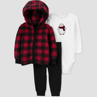 Baby Boys' Buffalo Check Sherpa Top & Bottom Set - Just One You® made by carter's Black/Red Newborn