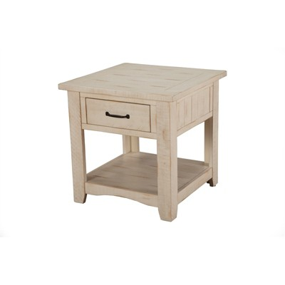 Rustic Solid Wood 1 Drawer End Table Antique White - Martin Svensson Home